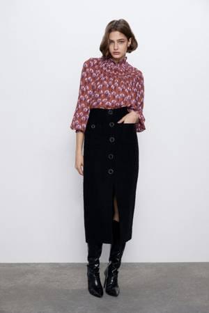 Bluzka Zara Printed Blouse Cuffs