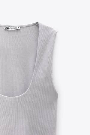 Bluzka Zara Ribbed T-shirt